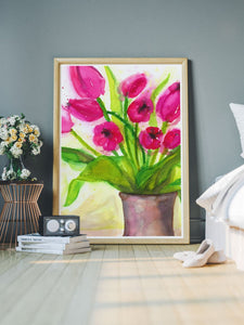 Pussycat Flower Painting Art in a modern room