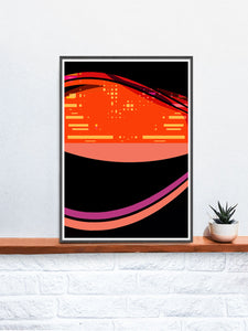 Radio Waves Glitch Art Print in a frame on a shelf