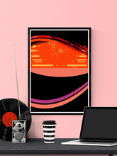 Load image into Gallery viewer, Radio Waves Glitch Art Print in a frame on a wall