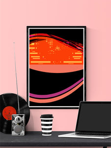 Radio Waves Glitch Art Print in a frame on a wall