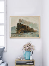 Load image into Gallery viewer, Railroad Blues Fine Art Print in a modern room
