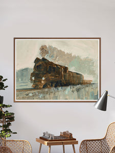 Railroad Blues Fine Art Print in a traditional room