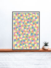 Load image into Gallery viewer, Rainbow Polygon Art in a frame on a shelf