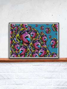 Rave Girl Blue Vector Illustration Print in a frame on a shelf