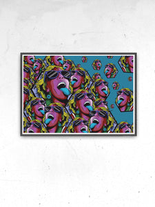 Rave Girl Blue Vector Illustration Print in a frame on a wall