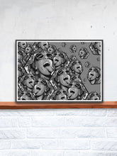 Load image into Gallery viewer, Rave Girl Monochrome Vector Illustration Print in a frame on a shelf