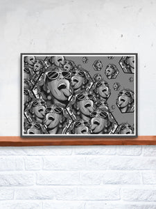Rave Girl Monochrome Vector Illustration Print in a frame on a shelf