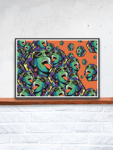 Rave Girl Orange Illustration Print in a frame on a shelf
