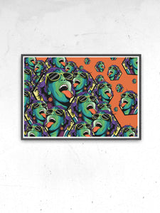 Rave Girl Orange Illustration Print in a frame on a wall
