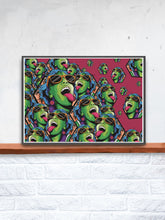 Load image into Gallery viewer, Rave Girl Vector Illustration Print in a frame on a shelf