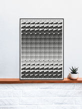Load image into Gallery viewer, Razor Geometric Print on a shelf