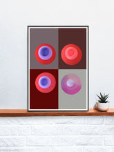 Load image into Gallery viewer, Red Minimal Art Print in a frame on a shelf