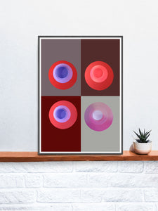Red Minimal Art Print in a frame on a shelf