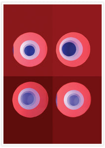 Red and Blue Minimal Art Print no frame
