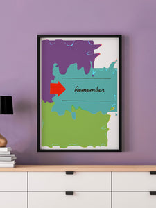 Remember Whats Coming Minimal Art Print in a frame on a wall