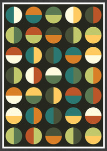Retro Binary Retro Colours 1970s Print in frame