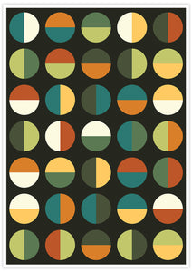 Retro Binary Retro Colours 1970s Print no frame