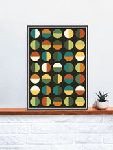 Load image into Gallery viewer, Retro Binary Retro Colours 1970s Print in a frame on a shelf