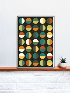 Retro Binary Retro Colours 1970s Print in a frame on a shelf