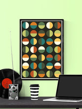 Load image into Gallery viewer, Retro Binary Retro Colours 1970s Print in a frame on a wall