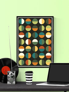 Retro Binary Retro Colours 1970s Print in a frame on a wall