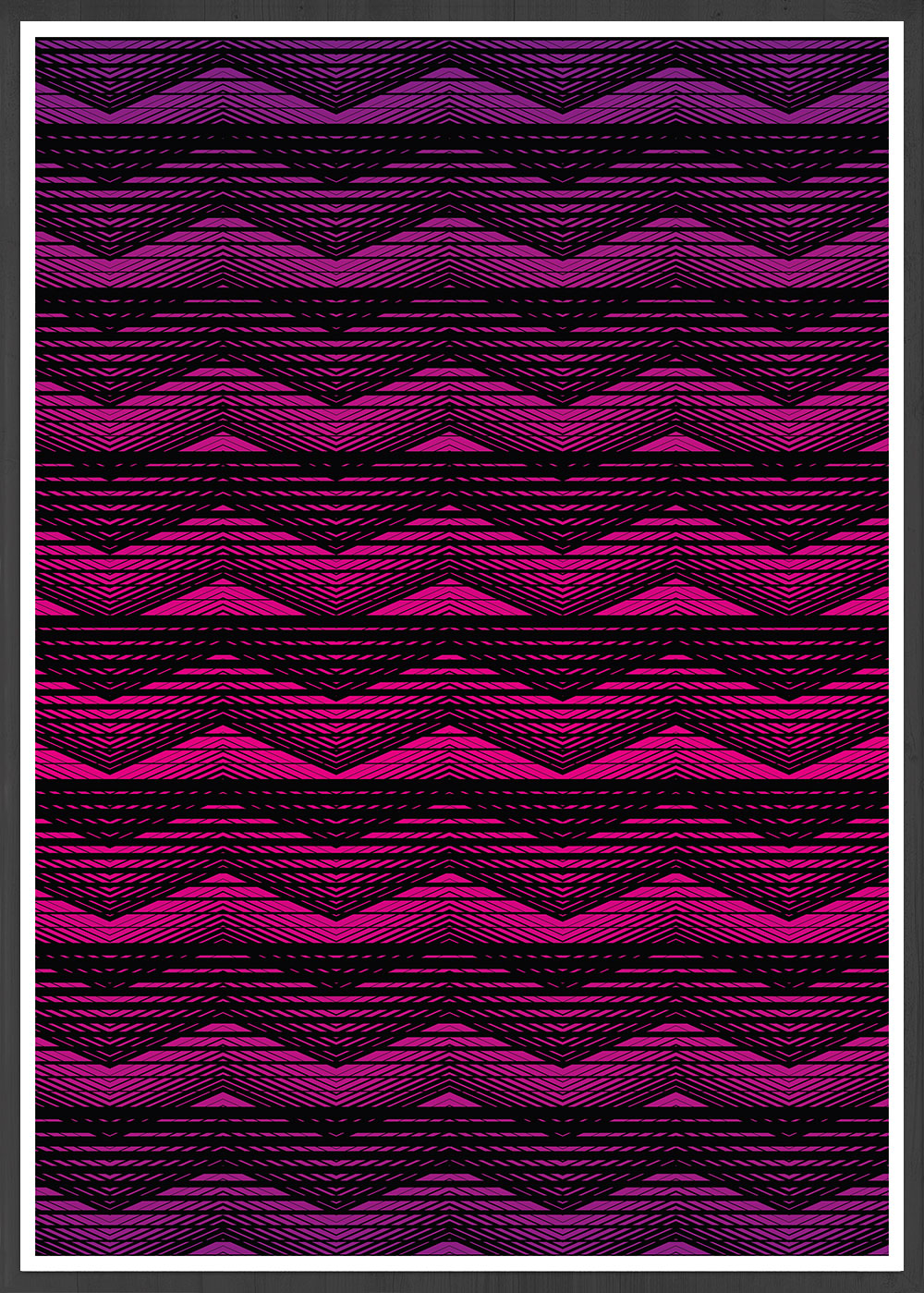 Retro Pink Geometric Art Print in a frame