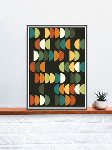 Retro Scales 2 Retro Poster Art Print in a frame on a shelf