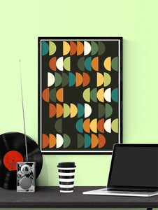 Retro Scales 2 Retro Poster Art Print in a frame on a wall