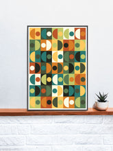 Load image into Gallery viewer, Retro Scales 3 70s Retro Wall Art in a frame on a shelf
