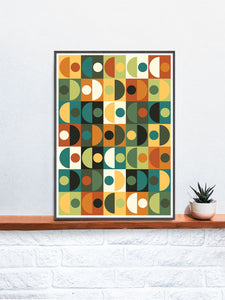 Retro Scales 3 70s Retro Wall Art in a frame on a shelf