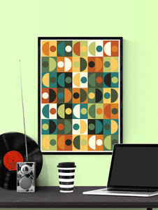 Retro Scales 3 70s Retro Wall Art in a frame on a wall