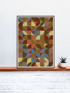 Retro Scales 5 Retro Pattern Art Print in a frame on a shelf