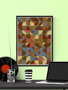Retro Scales 5 Retro Pattern Art Print in a frame on a wall
