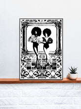 Load image into Gallery viewer, Retro 70s Art Illustration Print on a Shelf