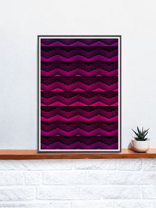 Retro Pink Geometric Art Print on a shelf