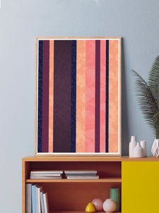 Retro Stripes Stripe Pattern Art Print large print on a wall