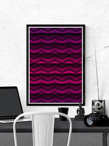 Retro Pink Geometric Art Print on a wall