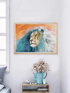 Roar Lion Painting Print in a bedroom