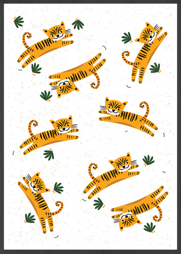 Roar Tiger Illustration Print in a frame
