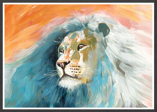 Roar Lion Painting Print in a black frame