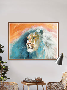 Roar Lion Painting Print in a lounge seating area