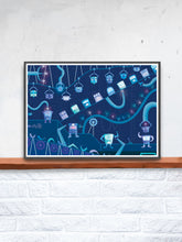 Load image into Gallery viewer, Robot Factory Childrens Art Print on a Shelf