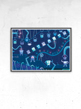 Load image into Gallery viewer, Robot Factory Childrens Art Print in a frame on a wall