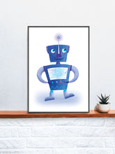 Load image into Gallery viewer, Robot Kids Robot Art Print on a Shelf