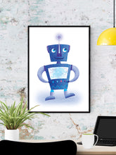 Load image into Gallery viewer, Robot Kids Robot Art Print in a frame on a wall