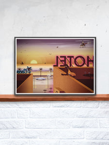Rooftop Dreamin Night Life Art Print in a frame on a shelf