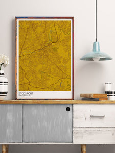 Stockport City Map Wall Art in modern room