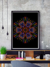 Load image into Gallery viewer, Sacred Heart Mandala Print in a frame on a shelf
