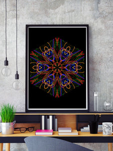 Sacred Heart Mandala Print in a frame on a shelf