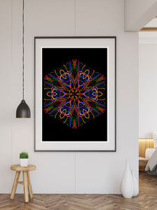 Sacred Heart Mandala Print in a frame on a wall